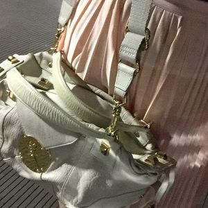 Cream bag with gold studs